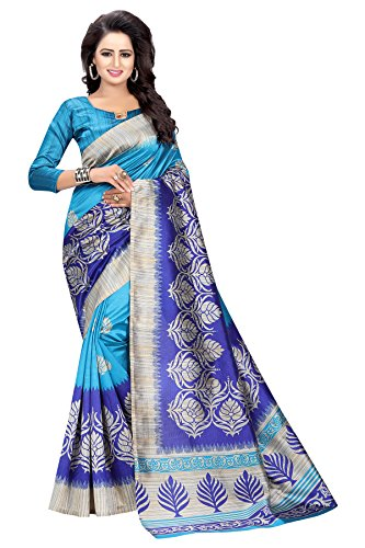 Indian Cottage Women's Fancy Ethnic Printed Blue Mysore Art Silk Saree with Beautiful motif 5.50 Mtr Blue