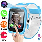 Smartwatch for Kids-TURNMEON Game Smart Watches for Girls Boys Birthday Gifts Back to School with SOS Calls SIM Card Slot Alarm Clock for iOS Android Smartphone (Blue)