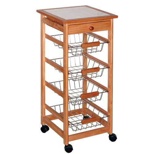 FCH Wood Kitchen Storage Cart Dining Trolley Rolling Cart w/ Drawer & Basket&Stand CounterTop Table