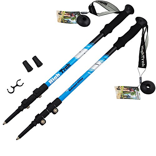 High Trek Hiking Poles [ Pair ] Telescopic Trekking / Walking / Climbing - 100% Tungsten Carbide Tips, Ultralight, Anti-Shock, Easy Flip Lock Height Adjustment