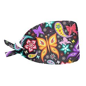 Woisttop Coloridas flores mariposa diseño pre atado pañuelo cabeza bufanda turbante chemo sombrero cabeza abrigo para…   DeHippies.com