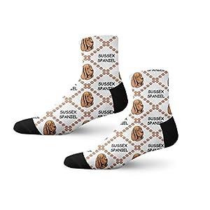 Funny Mens Socks Sussex Spaniel Dog Paws Polyester Crazy Socks Womens 30