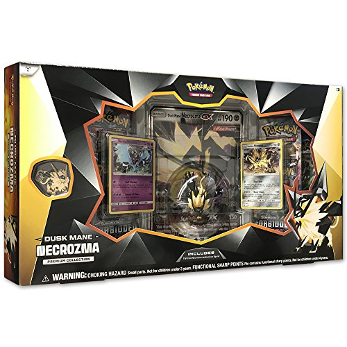 - Pokemon TCG: Dusk Mane Necrozma Premium Collection |Pokemon Card and Figurine Set |Features 2 Foil Promo Cards, 5 Booster Packs, Oversize Necrozma GX Card, Action Figure, Pin & Online Code Card