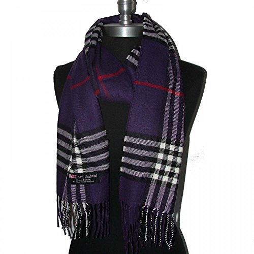 9Proud Purple Scarves 12x72 Plaid Made in Scotland - B91