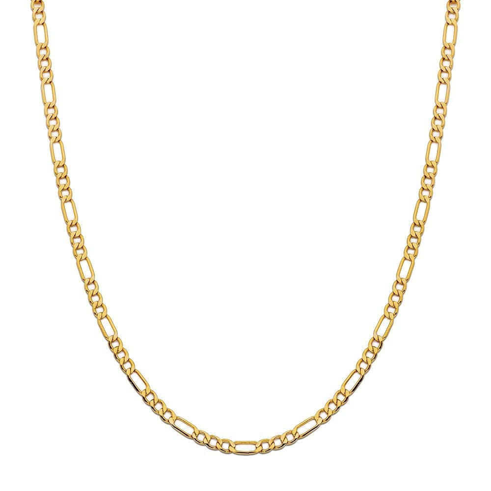 14K Yellow Gold 3.5mm Figaro Link Chain Necklace- Made In Italy- Multiple Lengths Available (20)