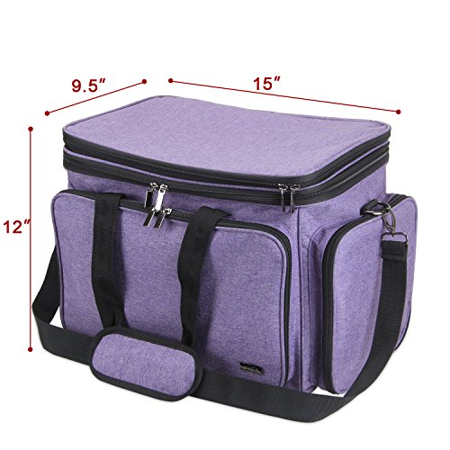 """Luxja Knitting Bag, Yarn Bag with Cover and Shoulder Strap, Yarn Tote Bag for Carrying Projects, Knitting Needles (up to 14""""), Circular Needles, Crochet Hooks and Other Accessories, Purple by LUXJA (Image #6)"""