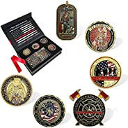 BHealthLife Firefighters Fire Department Challenge Coin Gift Box with 6 Fireman Prayer Coins Thin Red Line Com