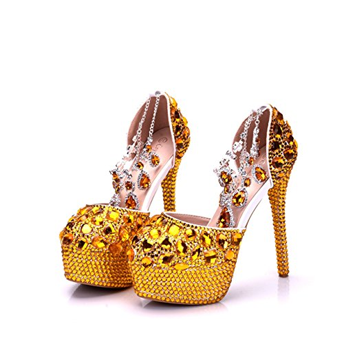 High 14cm Shoes Minishion Platform Gold Womens Chains Glitter Pumps Wedding Heels Heel Evening Stiletto Ankle UxwEOxqr