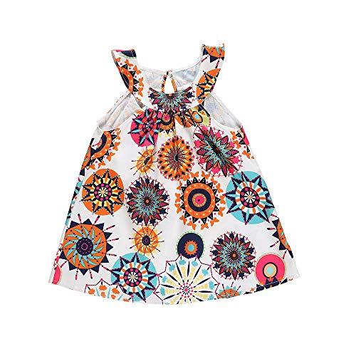Toddler Baby Girl Skirt Sets One Piece Sleeveless Floral Boho Sundress Beach Summer Dress 1-5T (White, 4-5T)