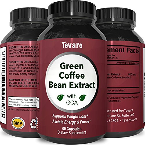 Tevare Green Coffee Bean Extract with GCA Natural Weight Loss Supplement for Men and Women 60 Count