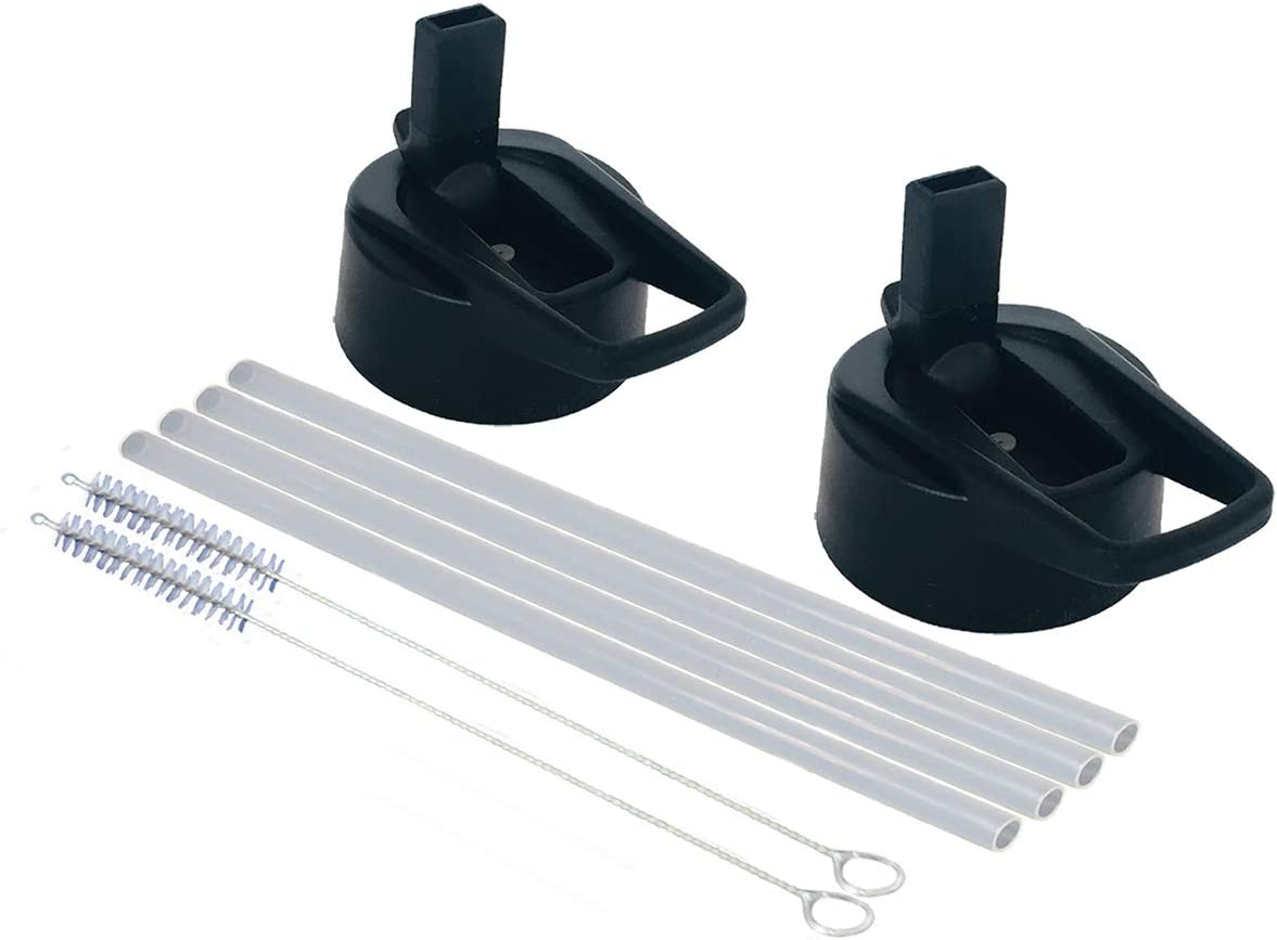 Smart Flask Straw lid Replacement with 2 Lids, 4 Straws and 2 Straw Brushes