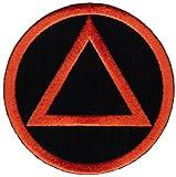 Circle Triangle Sobriety Patch Embroidiered Iron-On Sober Emblem Black Orange