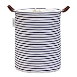 Hinwo 43L Large Capacity Laundry Hamper Canvas Fabric Laundry Basket Collapsible Storage Bin with PU Leather Handles and Drawstring Closure, 17.7 by 13.8 inches, Waterproof Inner Layer, Navy Stripe