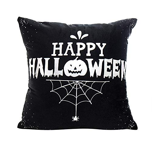 Happy Halloween Pillow Cover Square Decorative Pumpkin Spider Web Print Throw Pillowslip Cushion Cover (A, 43cmX43cm)