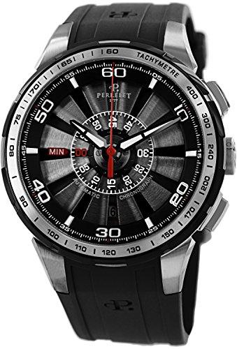 Perrelet Men's A1074/2 Turbine Analog Display Swiss Automatic Black Watch