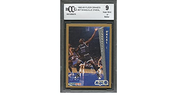 Amazon.com: 1992-93 fleer drakes #37 SHAQUILLE ONEAL orlando magic rookie card BGS BCCG 9 Graded Card: Collectibles & Fine Art