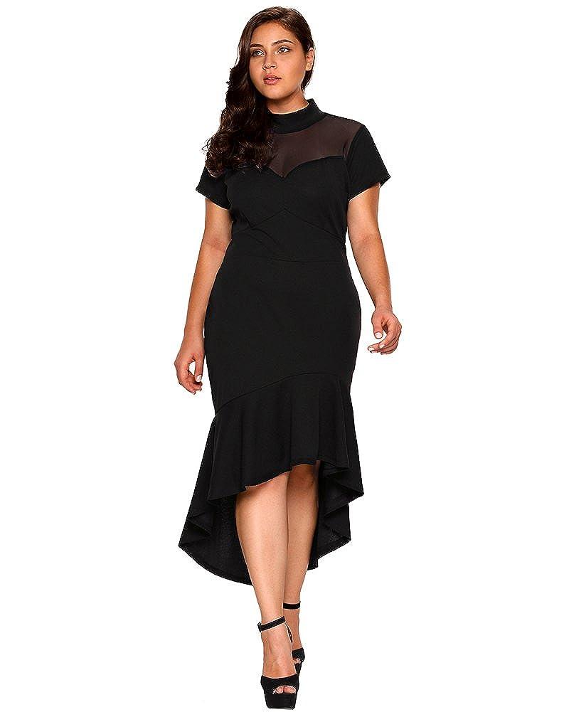 7072ec00419 Lalagen Women s Short Sleeves Plus Size Bodycon Mermaid Cocktail Dress Black  XL at Amazon Women s Clothing store
