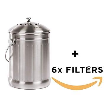 Odyseed Bandeja de Compost | compostador de Cocina en Acero Inoxidable de Gran Capacidad y anticorrosión
