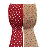 "Valentine's Day Burlap Ribbon with Wired Edge - Red Hearts on Natural and White Hearts on Red - 2 Rolls, Each 2.5"" x 10 Yards"