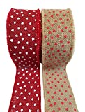 """Heart Printed Burlap Ribbon with Wired Edge – Red Hearts on Natural and White Hearts on Red – 2 Rolls, Each 2.5"""" x 10 Yards"""