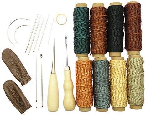 22 piezas de piel artesanal a la mano para coser a herramientas de costura, estuche de lápices de hilo de cera: Amazon.es: Instrumentos musicales