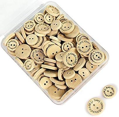SUNTATOP 150 Piezas hecho a mano con botón Botones Manualidades Madera Redondos para Costura Scrapbooking DIY Handmade with Love diametro 15mm/20mm