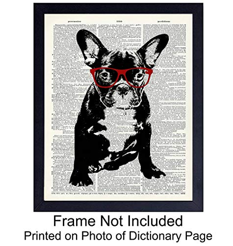 Dog in Red Glasses - Wall Art Print on Dictionary Photo - Ready to Frame (8X10) Vintage Photo - Great Home Decor or Gift For Animal Lovers