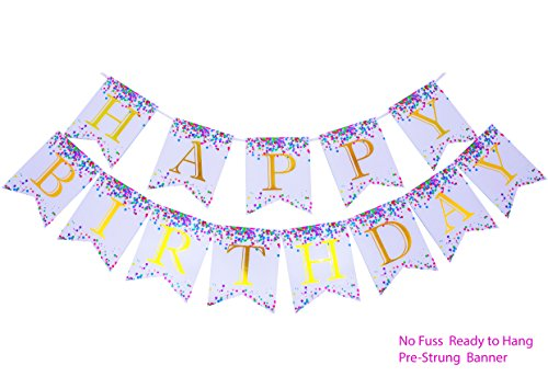 Keira Prince Happy Birthday Banner, Confetti Fun White Bunting with Vibrant Rainbow Multicolored Sprinkles & Gold Foil Letters (Happy Birthday Pennant Banner)