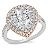 Clara-Pucci-303-Ct-Pear-Cut-Pave-Double-Halo-Wedding-Engagement-Bridal-Anniversary-Ring-Band-White-Rose-14K-Go