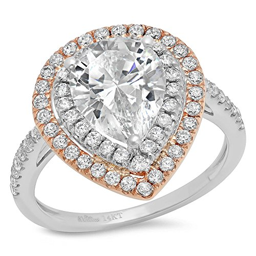 - Clara Pucci 3.03 Ct Pear Cut Pave Double Halo Wedding Engagement Bridal Anniversary Ring Band White Rose 14K Gold, Size 6.75