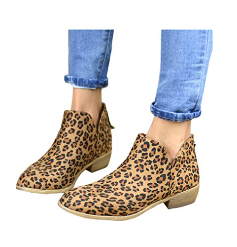 Leopard Bootie - PiePieBuy Women's Top Fashion Pointed Toe Ankle Boot Winter Low Heel Side Split Stacked Booties (8 B(M) US - EU Size 39, Leopard Print-2)