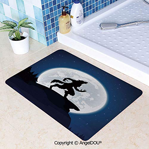 SCOXIXI Printed Non Slip Entry Door Mat Bathroom Carpet Full Moon Night Sky Growling Werewolf Mythical Creature in Woods Halloween Area Rugs for Dining Room Living Room Kitchen.W31.5xL47.2(inch)]()
