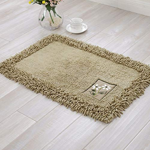 - TOFERN 100% Cotton Chenille Shaggy Embroidery Bathroom Bedroom Rug Non-slip Absorbent Durable Skin-friendly Machine Washable Anti-fading Doormat Home Decor Carpet Entrance Mats, Khaki, 60X90cm