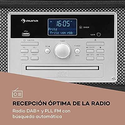 auna Mary ANN Tocadiscos - 33, 45 y 78 RPM, 24W máx, Reproductor de CD, Bluetooth, conexión USB, Dab+, Radio FM, Altavoces estéreo 2X 5W RMS, Mando a ...