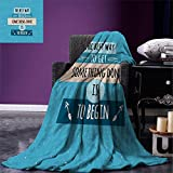 smallbeefly Motivational Digital Printing Blanket Philosophical Life Message to Raise Faith in Yourself and Your Strength Summer Quilt Comforter Blue Peach Black