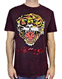 Ed Hardy Men's T Shirt Tiger, Burgundy Mineral, XX-Large