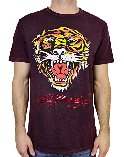 Ed Hardy Men's T Shirt Tiger, Burgundy Mineral