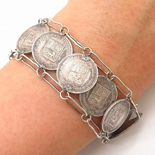 835 Silver Vintage 1960s Coin Link Bracelet 7