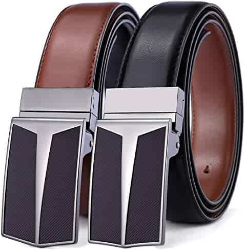 Reversible Belt, Bulliant Leather Belt for Men Reversible, Trim to Fit