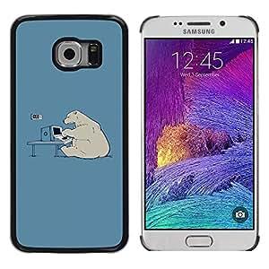 Design for Girls Plastic Cover Case FOR Samsung Galaxy S6 EDGE Polar Bear Computer Tech Art Global Warming OBBA