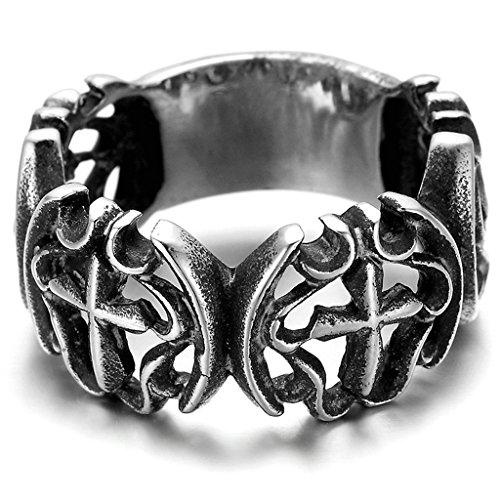 Sauron Eye Costume (Stainless Steel Ring for Men, Cross Ring Gothic Black Band Silver Band 25MM Size 13 Epinki)