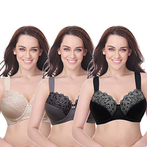 Lace Longline Underwire Bra - Curve Muse Plus Size Unline Minimizer Underwire Bra with Embroidery Lace-3Pack-GREY,Pink,BLACK-40B