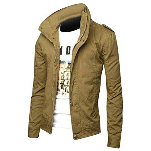 Pelle Di Moda Jeansian Sottile Uomo Cappotti Cappotto Capispalla Design 8963 Uomini Khaki Giacca Tendenza Inverno gE5S1X