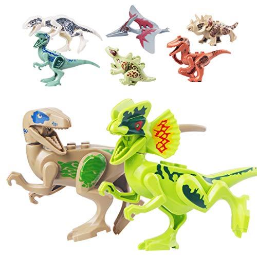 Cemetoy Dinosaur Toys 8 Pack Mini Dinosaur Action Figures DIY Building Blocks Playset Party Favors Toys for Kids Boys Toddler Educational