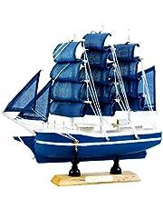 16cm Ocean Series Nautical Sailor Ship Model Wooden Sailing Boat Home Office Desktop Decor - C