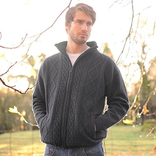 Carraig Donn Pure Wool Irish Shetland Lined Men's Aran Cardigan Large