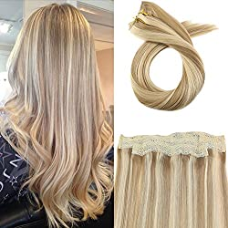 Moresoo Colorful Flip on Hair Extensions Human Hair 80 Grams 16 Inch Hair Extensions Halo Human Hair Blonde Color #14 Highlighted with #613 Wire Hair Extensions 100% Real Human Hair