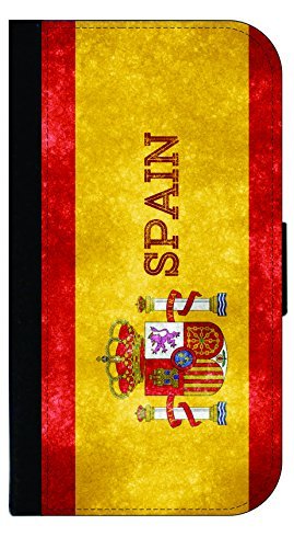 Spain Grunge Flag - Wallet Style Flip Phone Case Compatible with s3/s4/s5/s6/s6edge/s7/s7edge/s8/s8Plus - Select Your Compatible Phone Model
