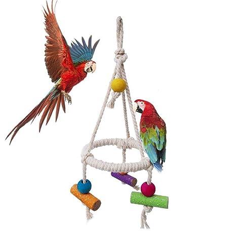 AUOKER - Cuerda de pájaro Perca, Loro, Hecha a Mano, 100 ...