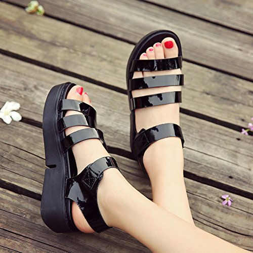 Moda Mujer verano sandalias confortables tacones altos,34 negro Black